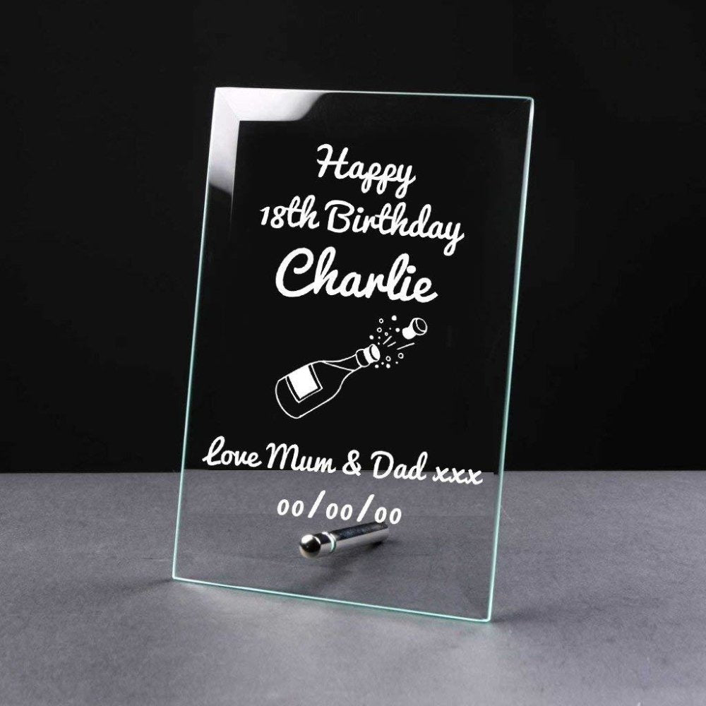 Personalised Any Age Birthday Sentiment Gift Glass Plaque - ukgiftstoreonline