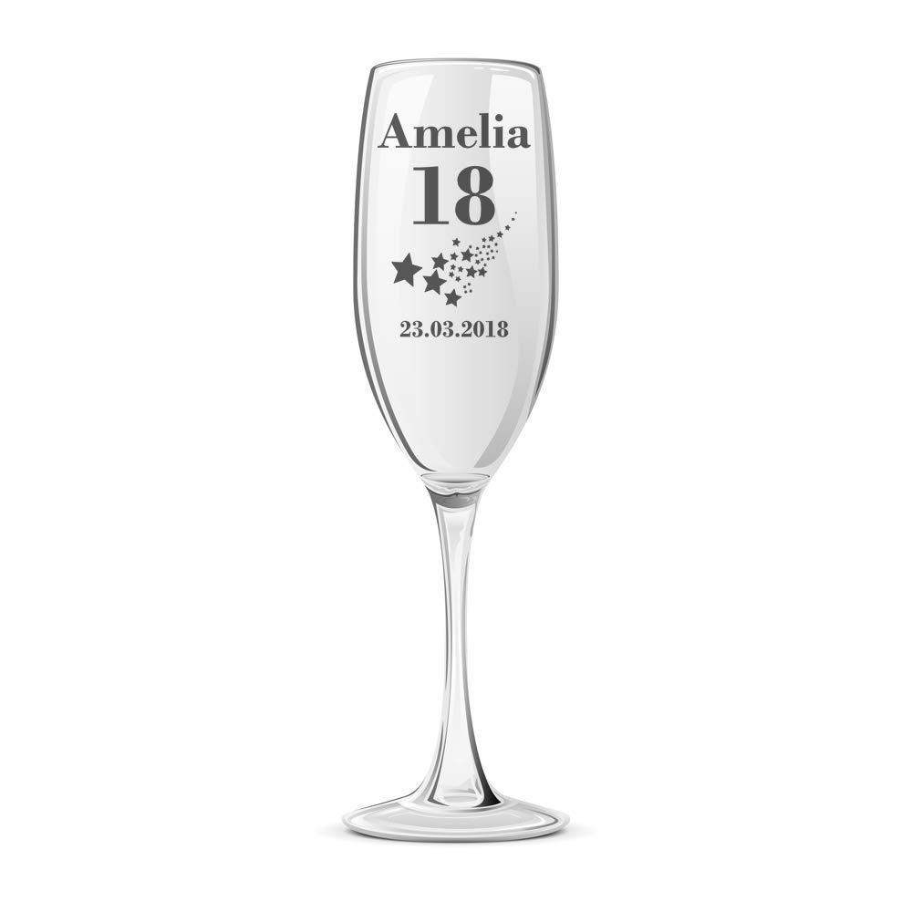 Personalised Any Age Birthday Stars Champagne Flute Glass Gift Boxed 18th 21st 30th 40th 50th 60th 70th 80th - ukgiftstoreonline