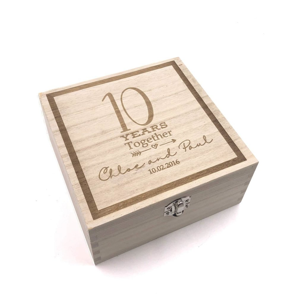 Personalised Any Anniversary Engraved Wooden Keepsake Box Gift 5th, 10th, 25th, 30th, 40th, 50th, 60th - ukgiftstoreonline