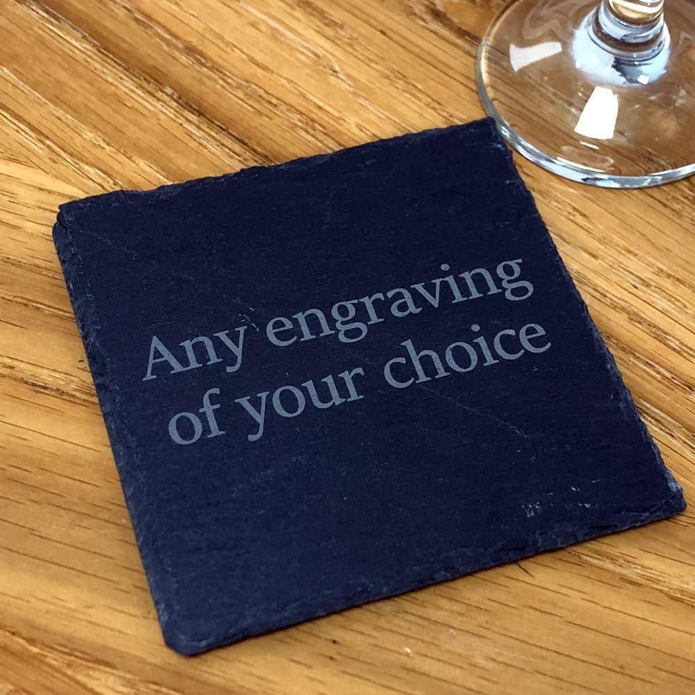Personalised any engraving slate coaster gift - ukgiftstoreonline