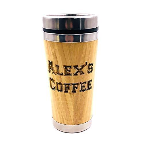 Personalised Any Name Reusable Sustainable Bamboo Travel Mug - ukgiftstoreonline