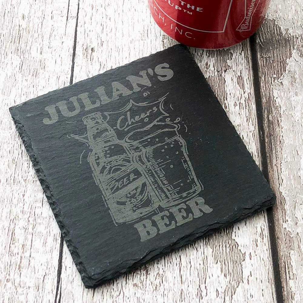 Personalised Any Name Stone Slate Beer Coaster Gift - ukgiftstoreonline