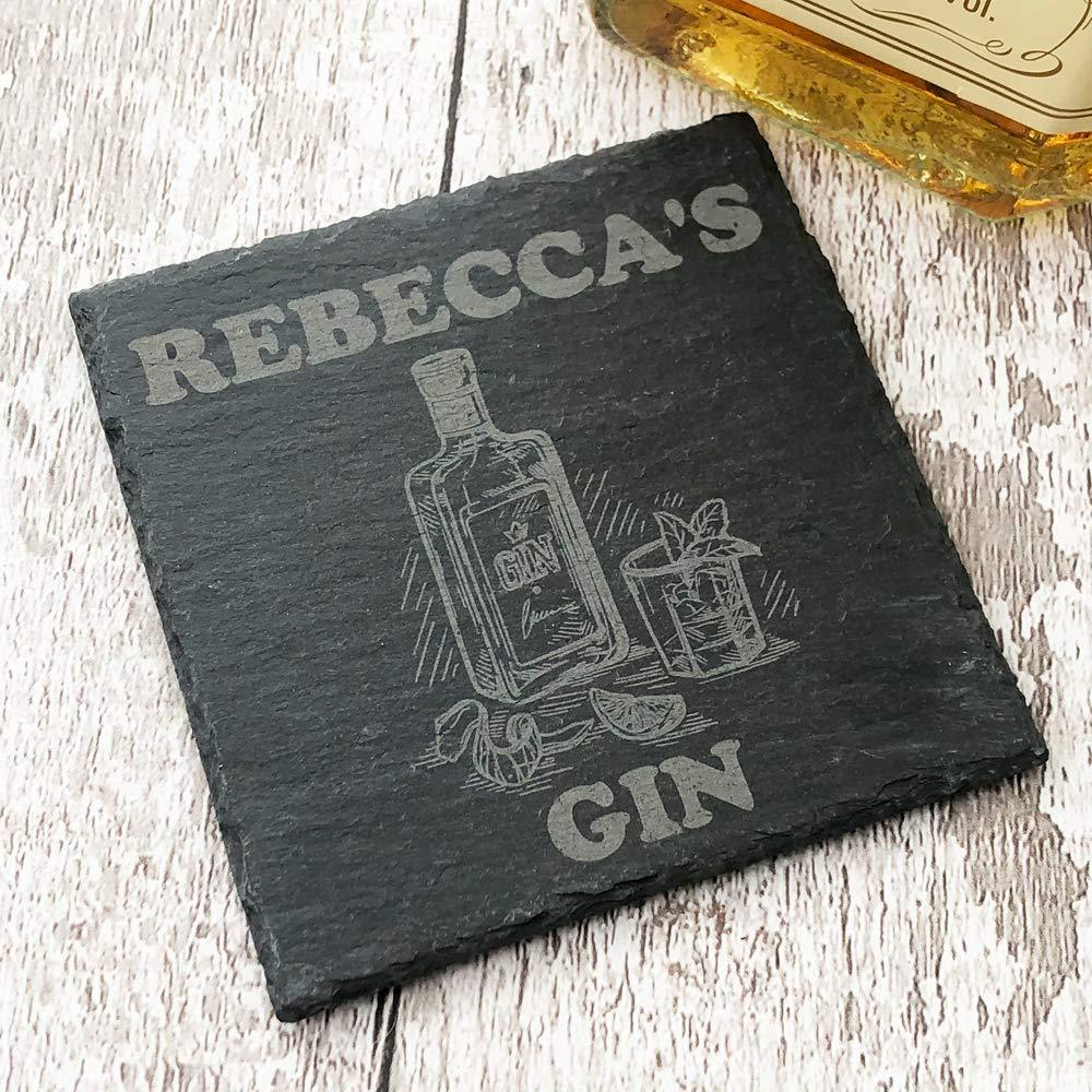 Personalised Any Name Stone Slate Gin Coaster Gift - ukgiftstoreonline