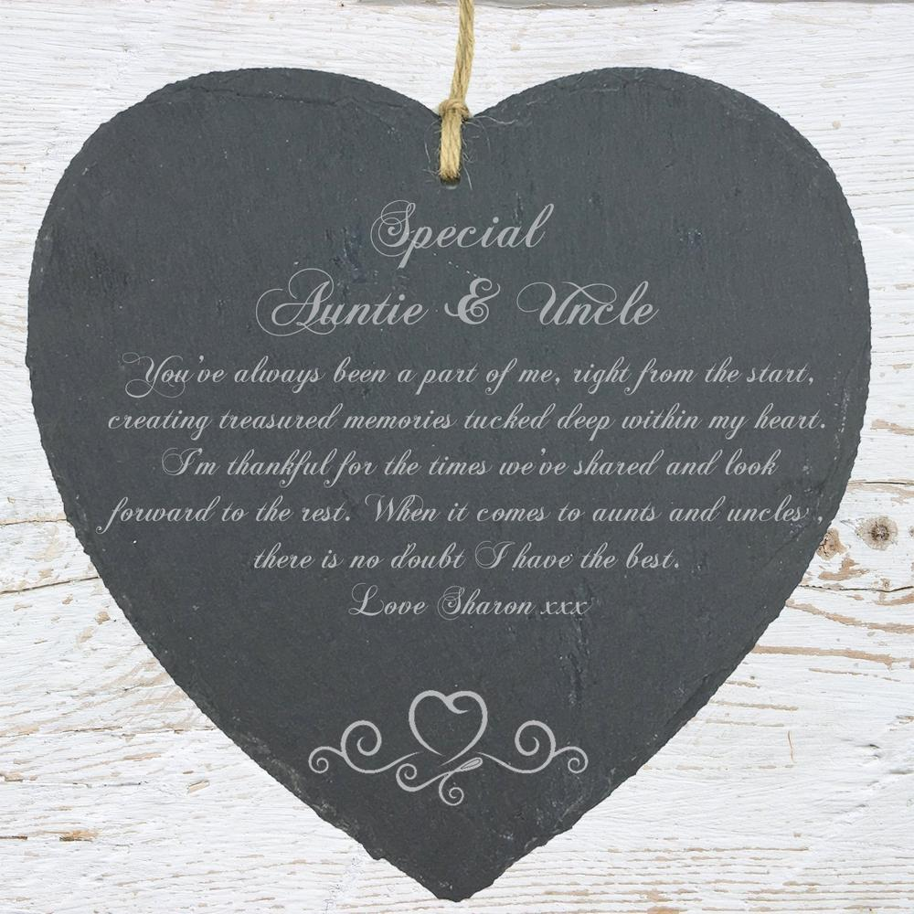 Personalised Auntie and Uncle Gift Slate Plaque Heart Symbol - ukgiftstoreonline