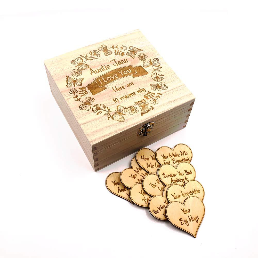 Personalised Auntie Gift 10 Reasons why I Love You Wooden Box and Hearts - ukgiftstoreonline