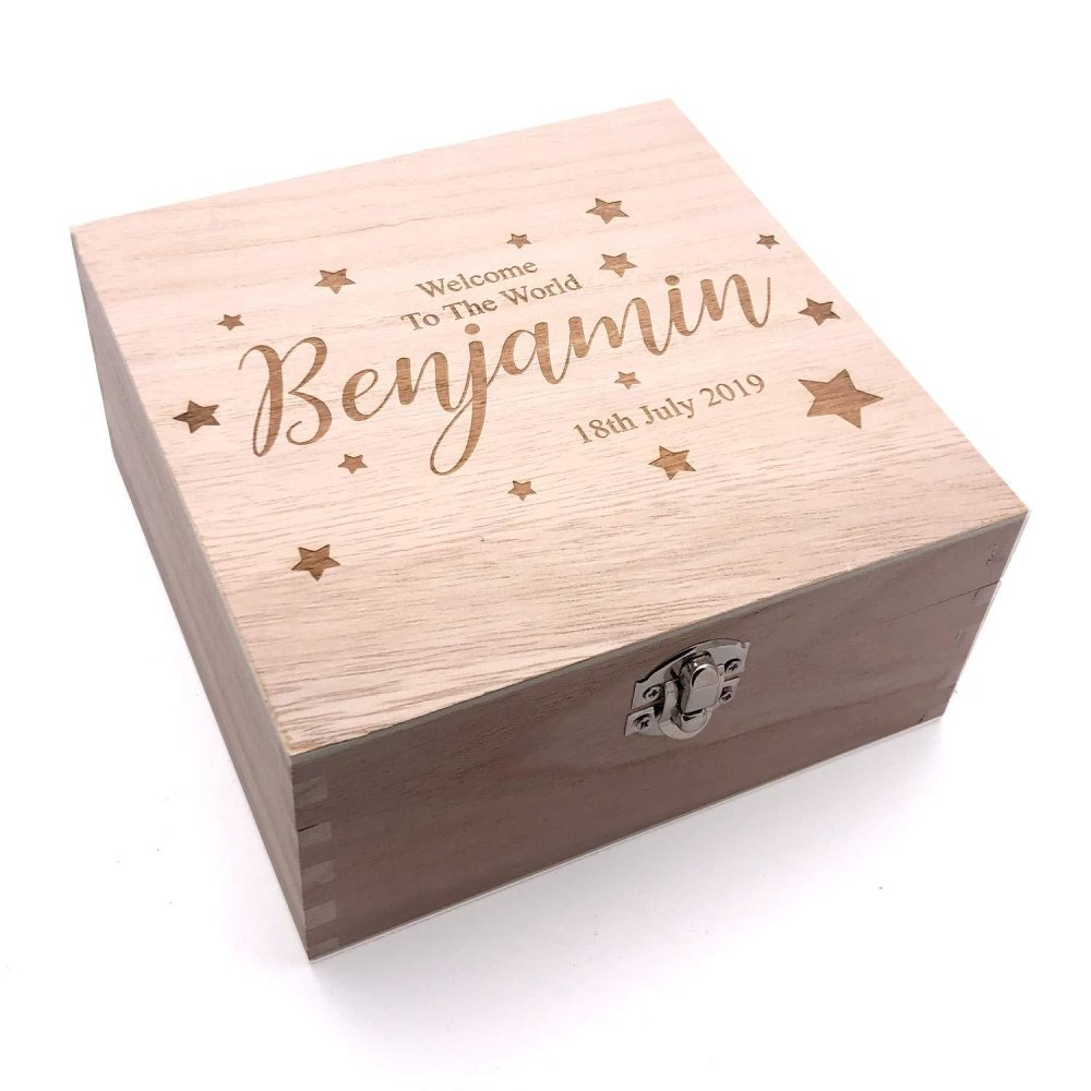 Personalised Baby Engraved Wooden Keepsake Box Gift Welcome to The World - ukgiftstoreonline