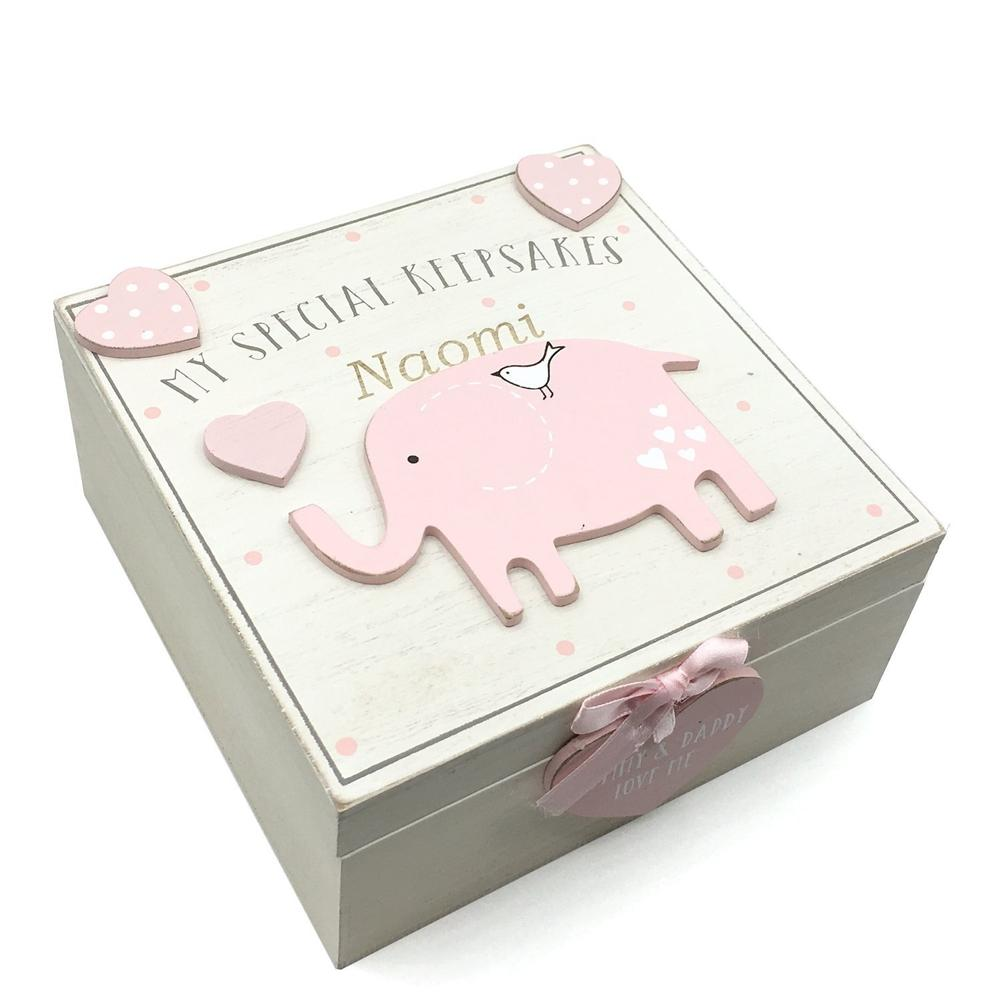 Personalised Baby Girl wooden Memories Keepsake Box Vintage Style - ukgiftstoreonline