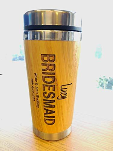 Personalised Bamboo Travel Mug Wedding Favour Gift Bridesmaid Maid Honour - ukgiftstoreonline