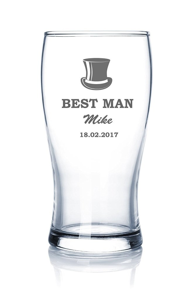Personalised Beer Glass Wedding Favour Gift Best Man Usher Father Of The Groom - ukgiftstoreonline