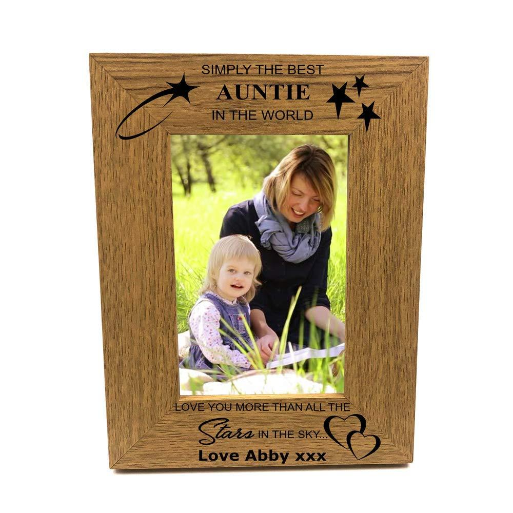 Personalised Best Auntie Portrait Wooden Photo Frame Gift - ukgiftstoreonline