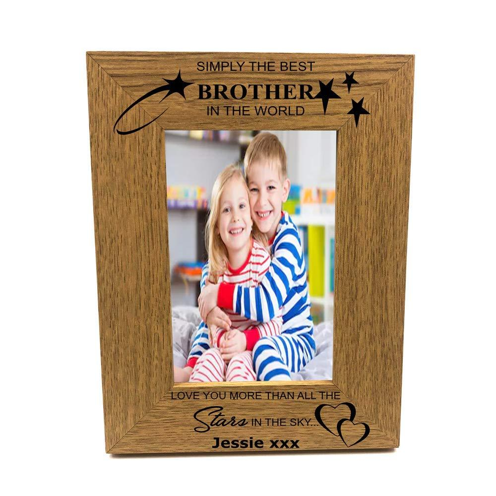 Personalised Best Brother Portrait Wooden Photo Frame Gift - ukgiftstoreonline
