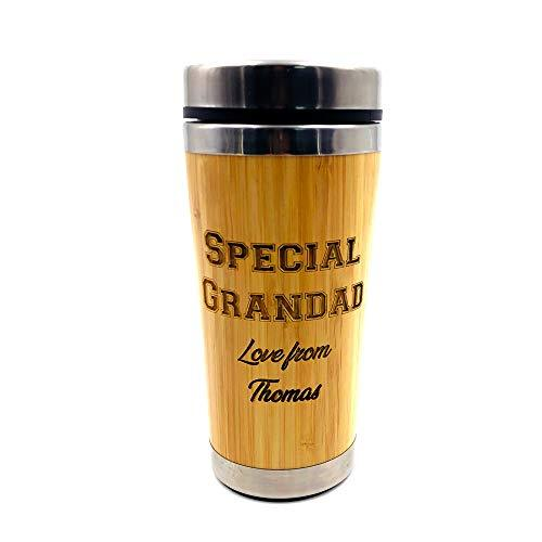 Personalised Best Grandad Reusable Sustainable Bamboo Travel Mug - ukgiftstoreonline