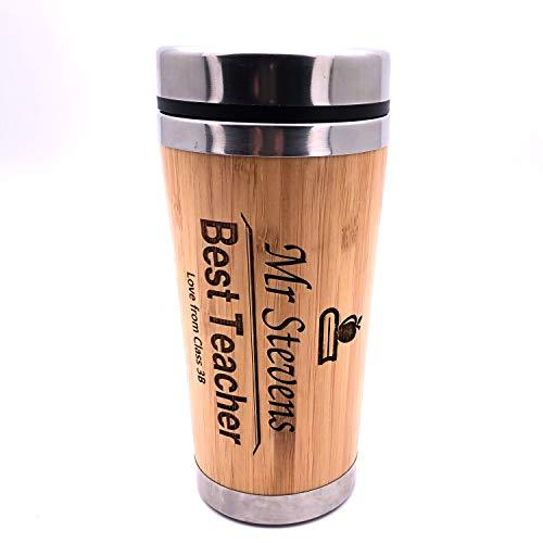 Personalised Best Teacher Bamboo Travel Mug - ukgiftstoreonline