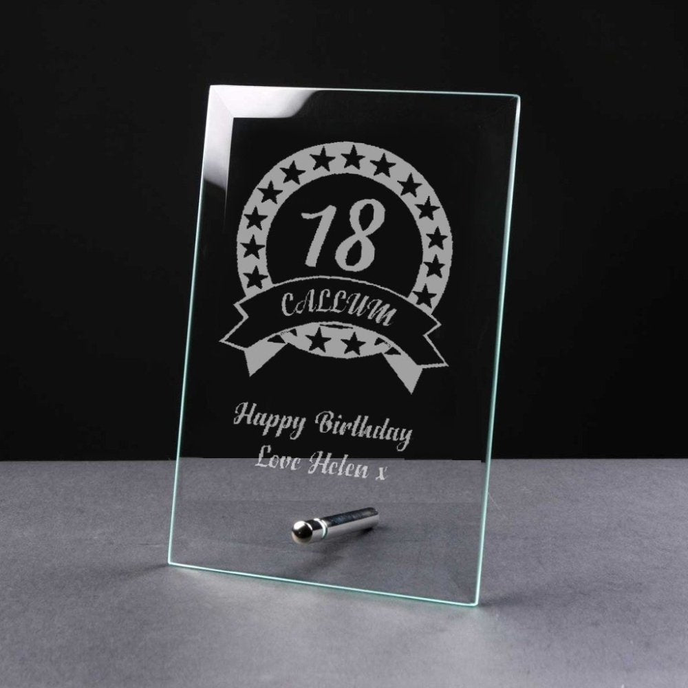 Personalised BIRTHDAY Gift 18th/21st/30th/40th/50th/60th/70th Glass Plaque - ukgiftstoreonline