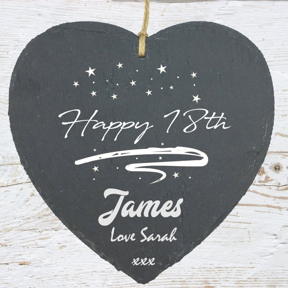Personalised Birthday Stars Slate Plaque Sign Gift 18th 21st 60th etc - ukgiftstoreonline