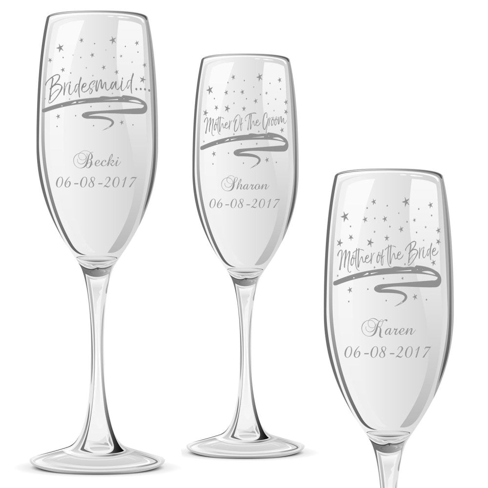 Personalised Champagne Glass Wedding Favour Gift Bridesmaid Maid Honour Star Design - ukgiftstoreonline