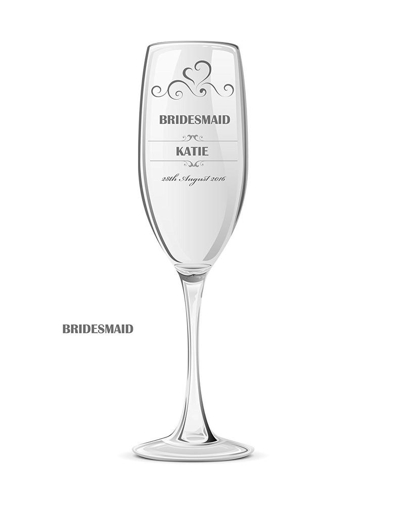 Personalised Champagne Prosecco Glass Wedding Favour Gift Bridesmaid Maid Honour - ukgiftstoreonline