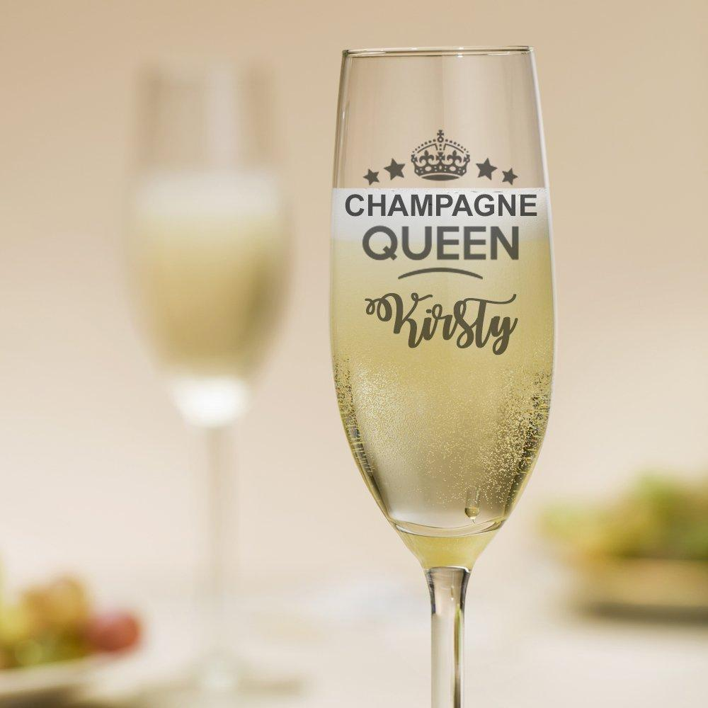 Personalised Champagne Queen Glass - ukgiftstoreonline