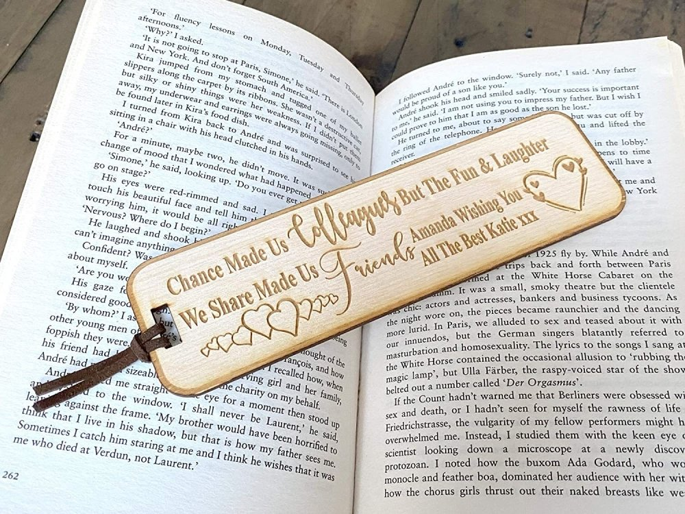 Personalised Colleagues Fun and Laughter Gift Wooden Engraved Bookmark BK-19 - ukgiftstoreonline