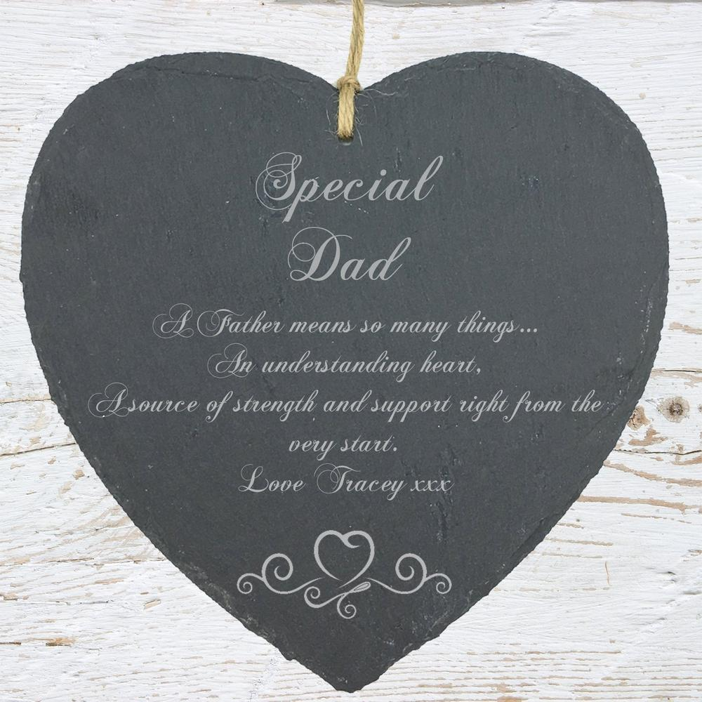 Personalised Dad Gift Slate Plaque Heart Symbol - ukgiftstoreonline