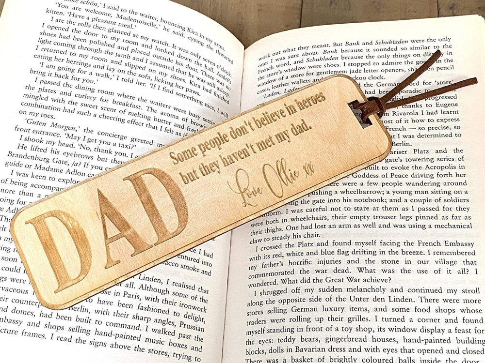 Personalised Dad Gift Wooden Bookmark with Sentiment - ukgiftstoreonline