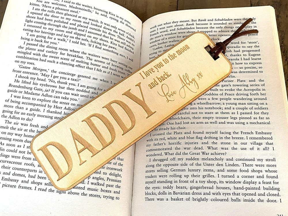 Personalised Daddy Gift Wooden Bookmark with Sentiment - ukgiftstoreonline