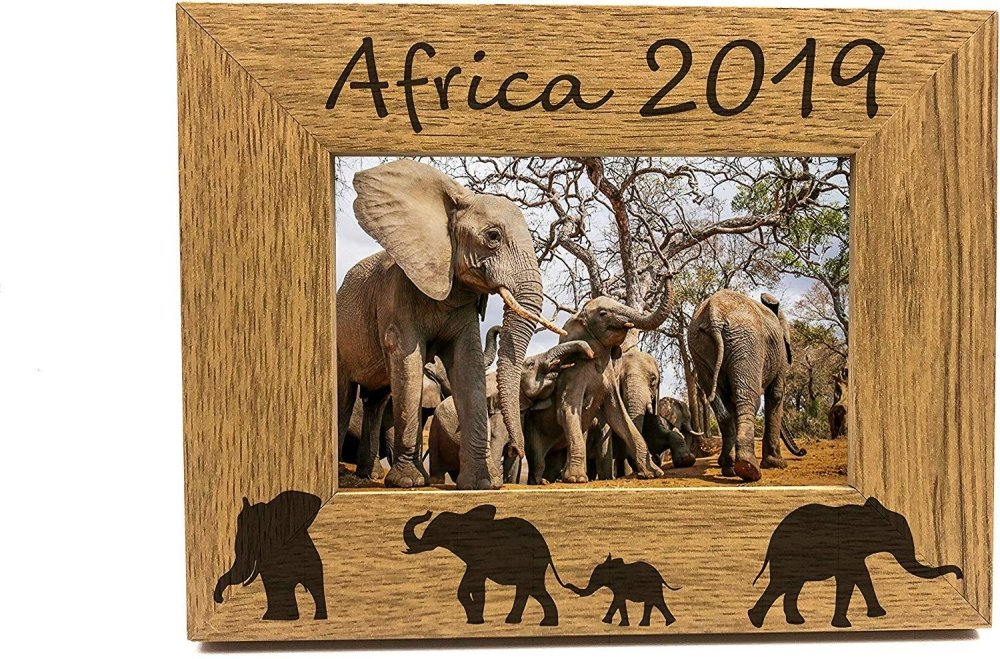 Personalised Elephant Design Engraved Wooden Photo Frame - ukgiftstoreonline
