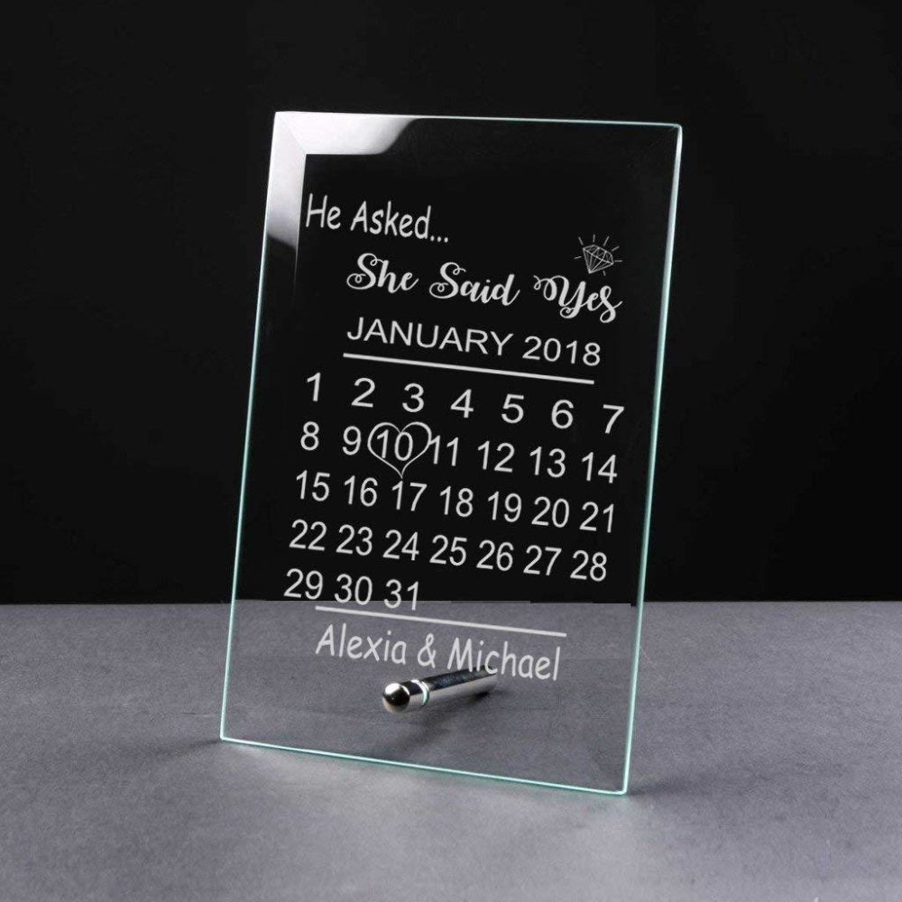 Personalised Engagement Gift Glass Plaque He Asked She Said Yes - ukgiftstoreonline