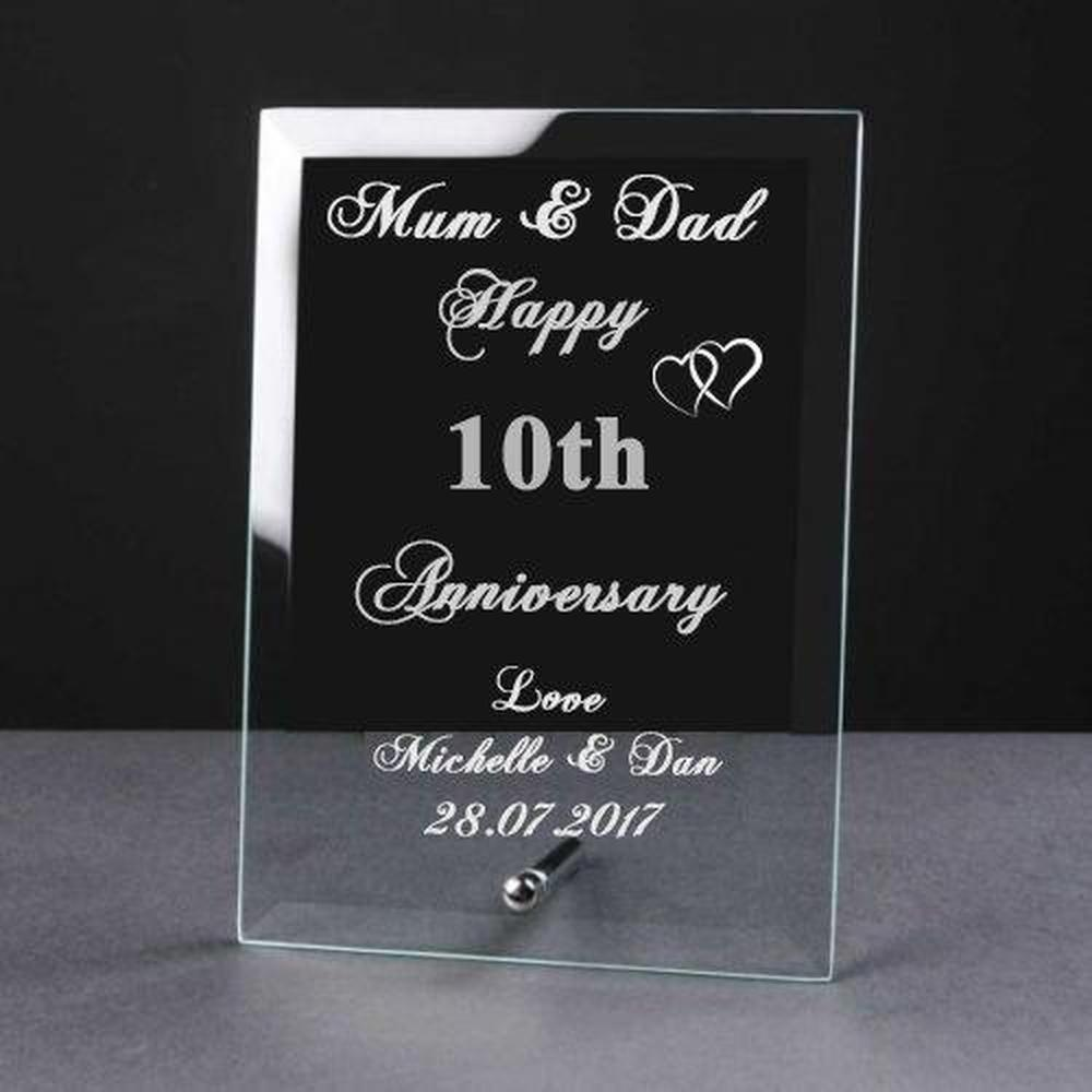Personalised Engraved 10th Anniversary Glass Plaque Elegant Gift - ukgiftstoreonline