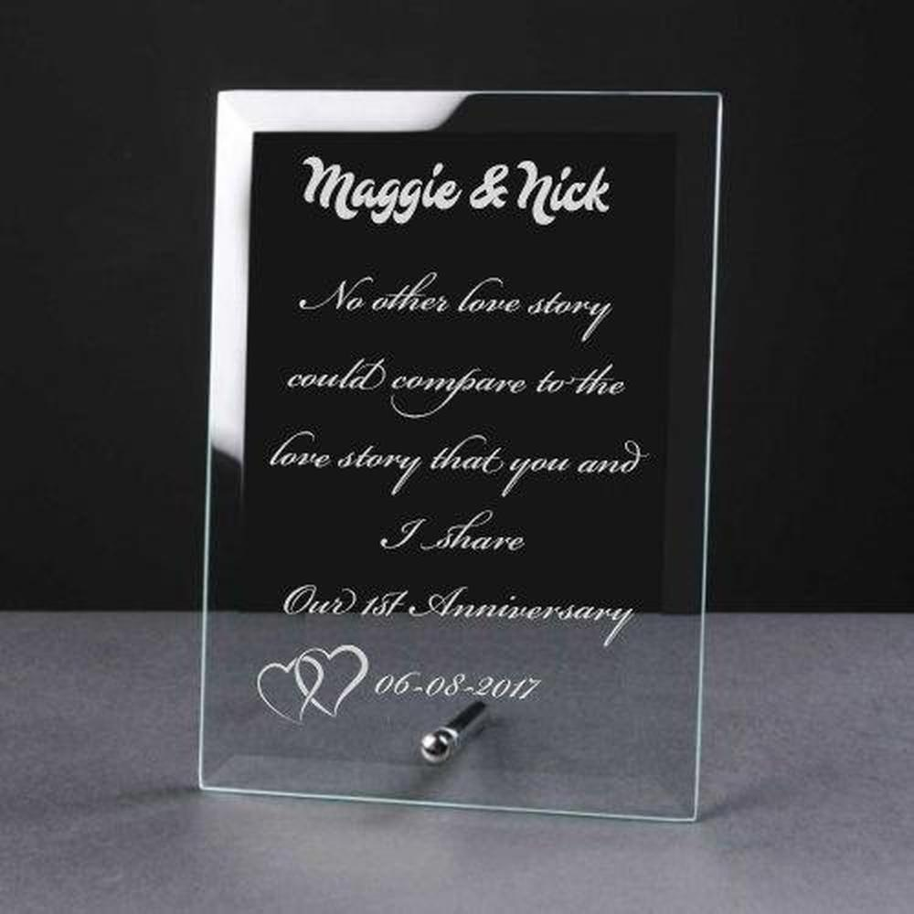 Personalised Engraved 1st Anniversary Glass Plaque Elegant Gift - ukgiftstoreonline