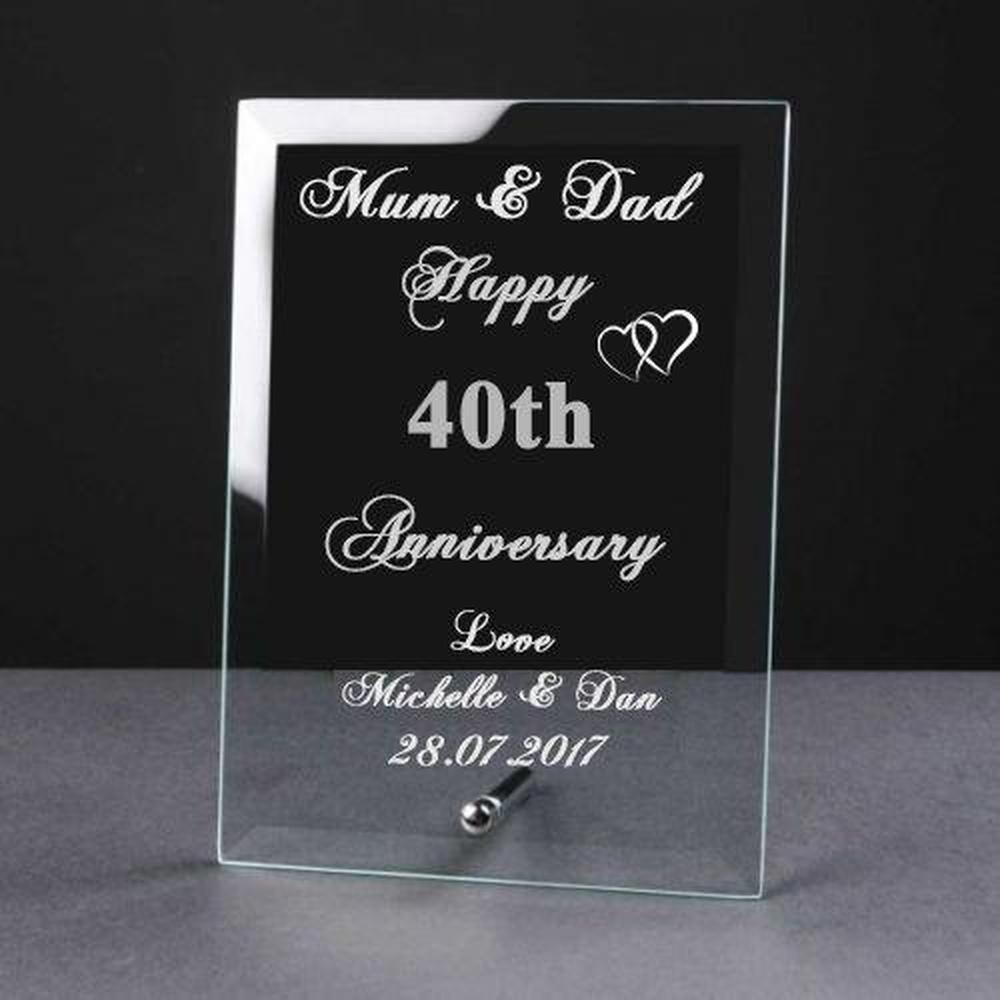 Personalised Engraved 40th Anniversary Glass Plaque Elegant Gift - ukgiftstoreonline