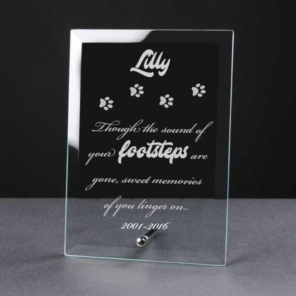 Personalised Engraved Cat Remembrance Glass Plaque - ukgiftstoreonline