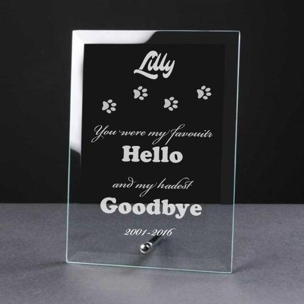 Personalised Engraved Cat Remembrance Glass Plaque - Goodbye - ukgiftstoreonline