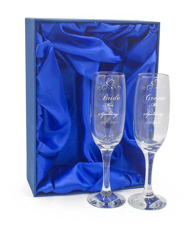 Personalised Engraved Champagne Flutes x 2 Wedding Day Bride and Groom - ukgiftstoreonline