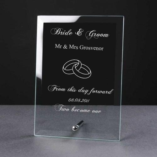 Personalised Engraved Elegant Glass Plaque Wedding Day Bride & Groom Gift - ukgiftstoreonline
