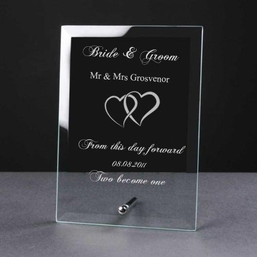 Personalised Engraved Elegant Heart Glass Plaque Wedding Gift - ukgiftstoreonline
