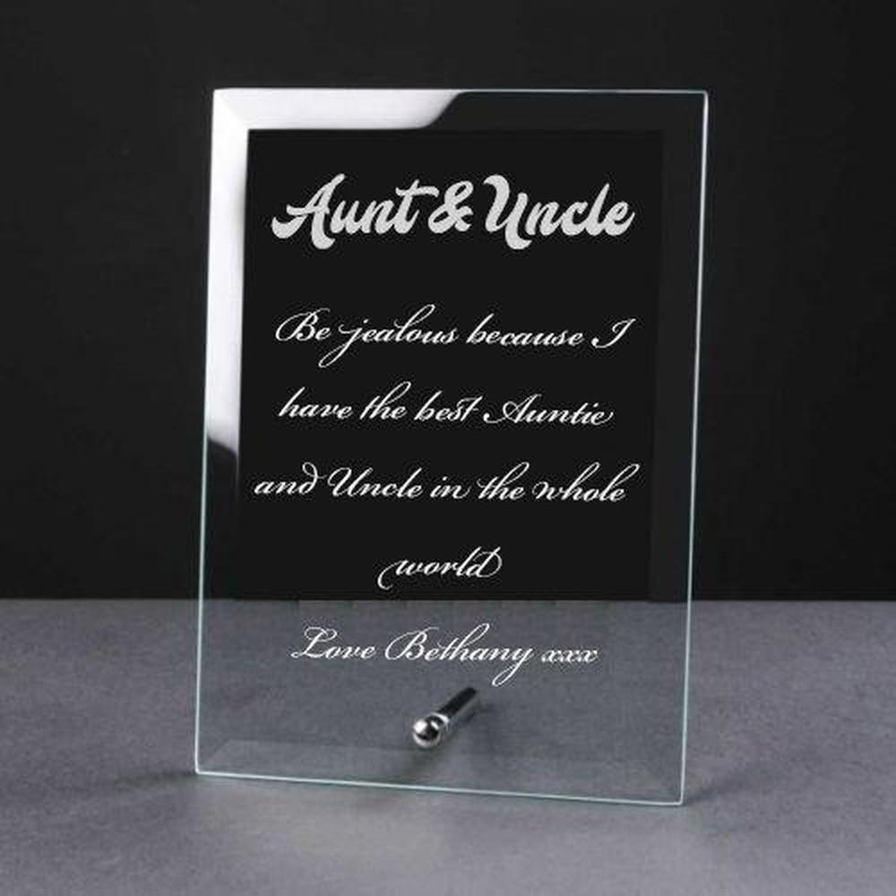 Personalised Engraved Glass Plaque Aunt and Uncle Gift - ukgiftstoreonline