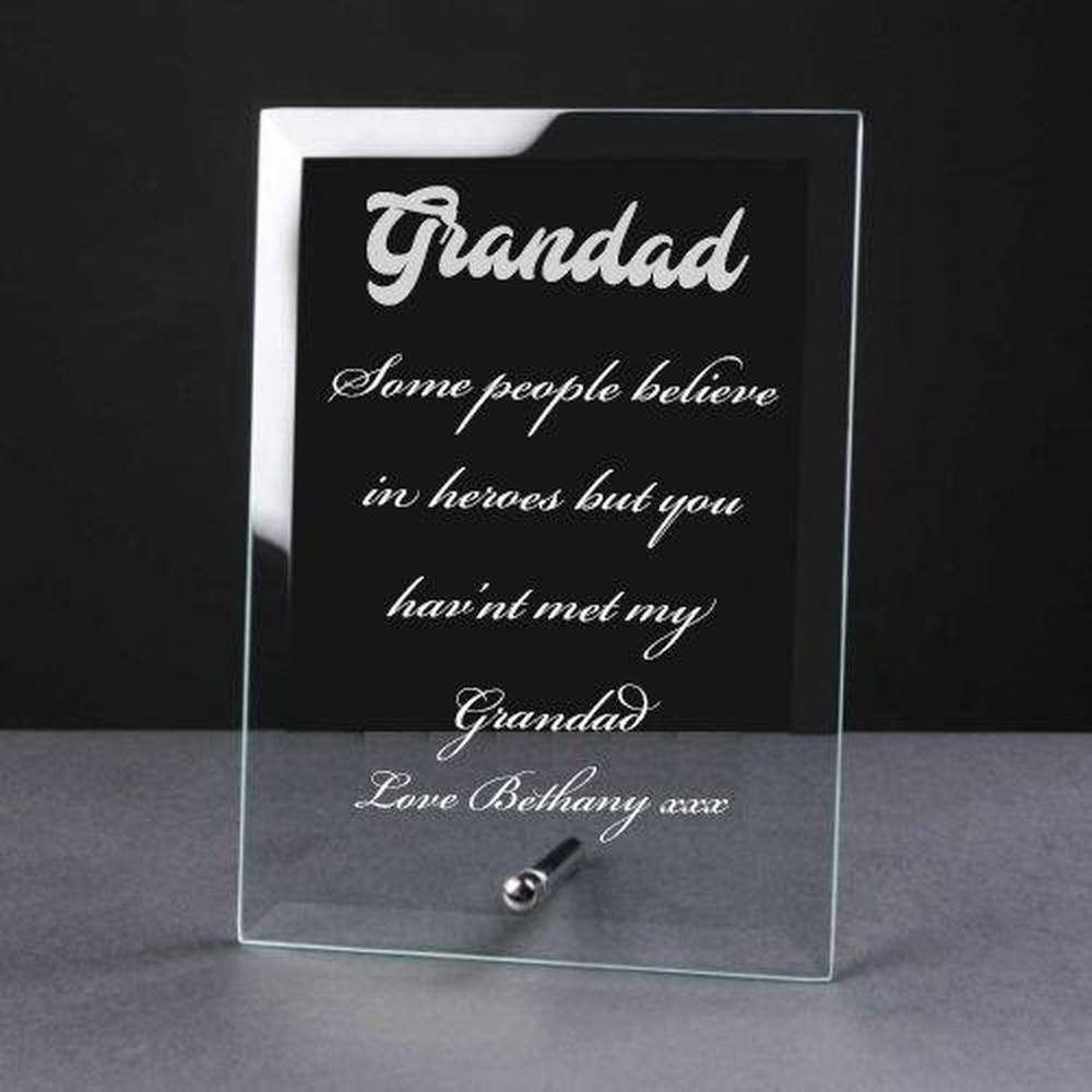 Personalised Engraved Glass Plaque Grandad Gift - ukgiftstoreonline