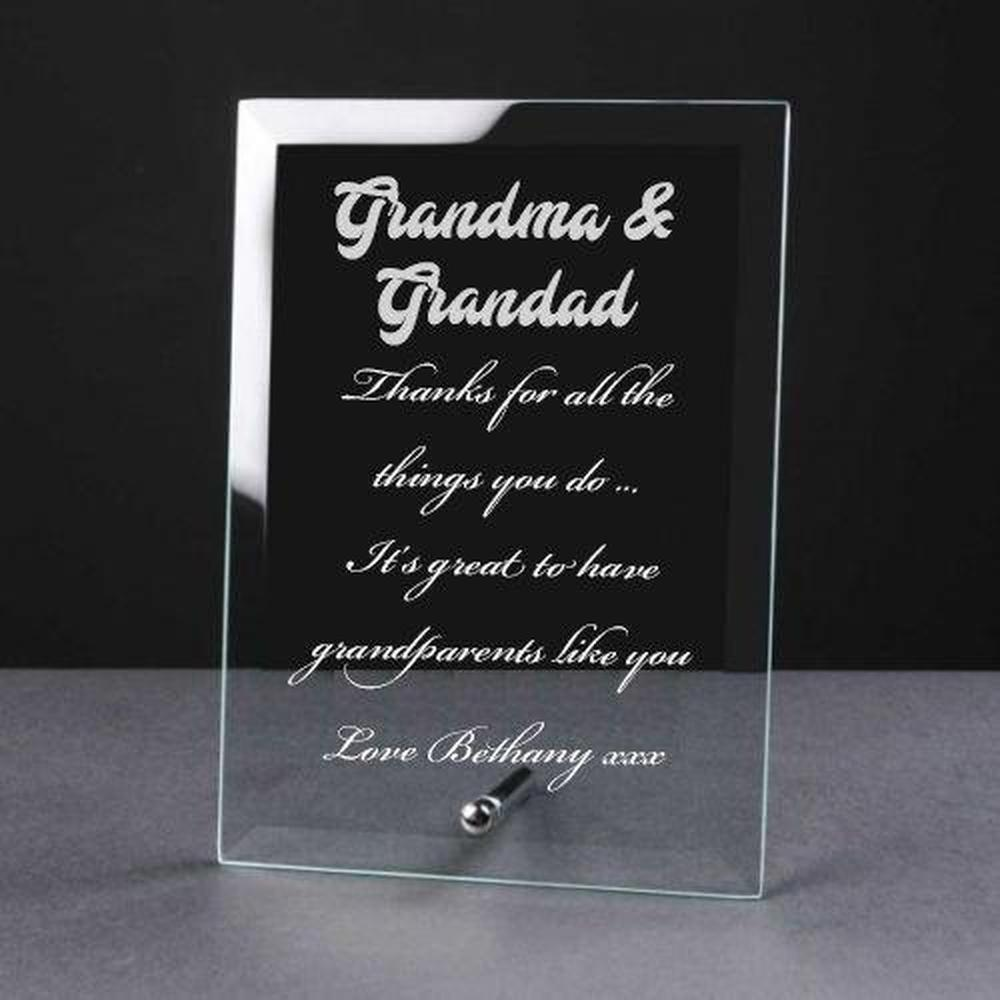 Personalised Engraved Glass Plaque Grandma and Grandad Gift - ukgiftstoreonline