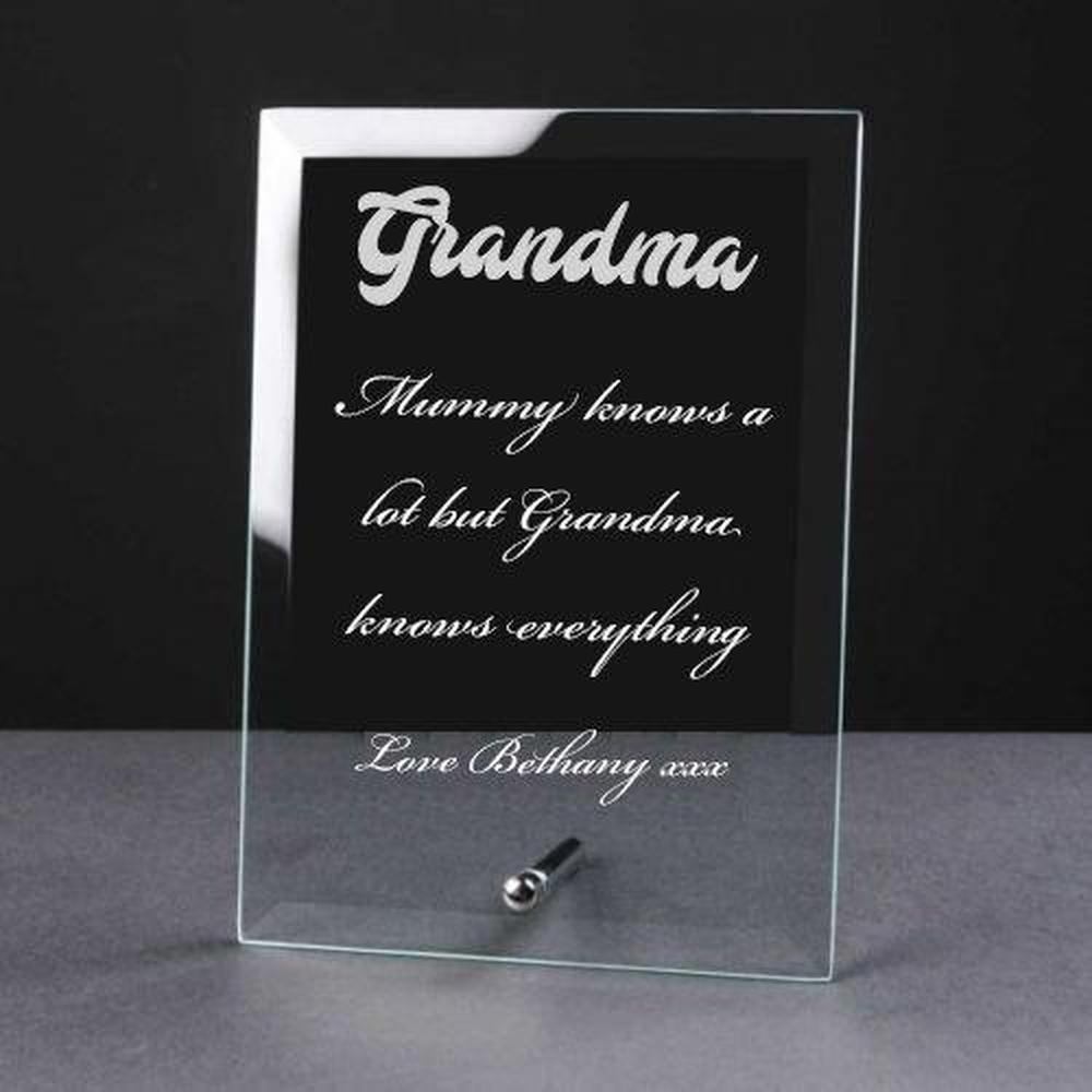 Personalised Engraved Glass Plaque Grandma Gift - ukgiftstoreonline