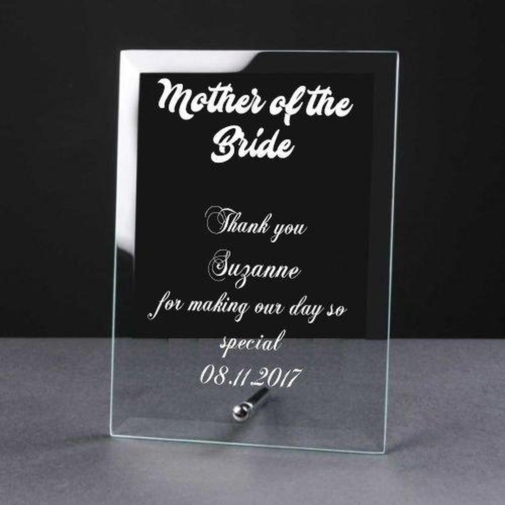 Personalised Engraved Glass Plaque Mother Of The Bride Gift - ukgiftstoreonline