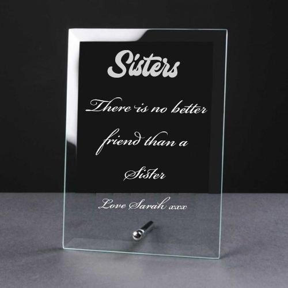 Personalised Engraved Glass Plaque Sister Gift - ukgiftstoreonline