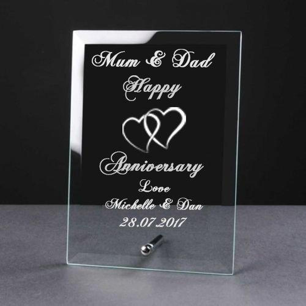 Personalised Engraved Happy Anniversary Glass Plaque Elegant Gift - ukgiftstoreonline