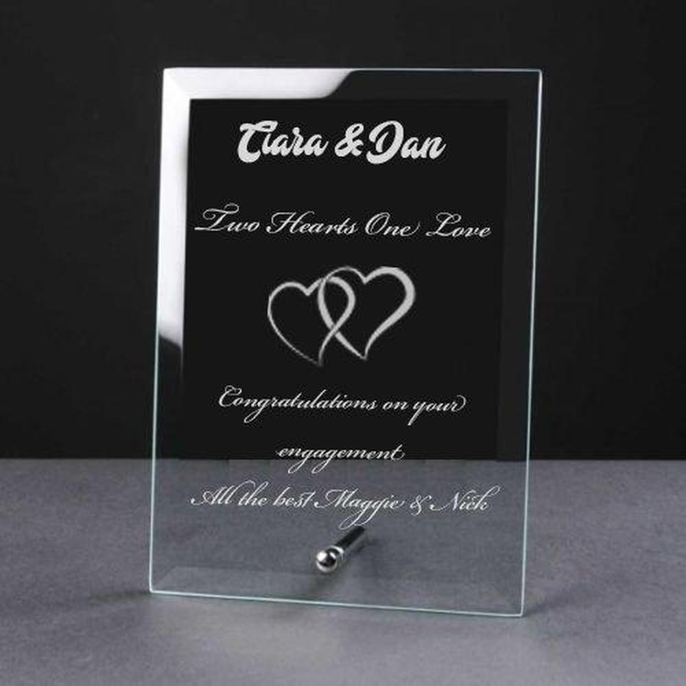 Personalised Engraved Heart Glass Plaque Engagement Gift - ukgiftstoreonline