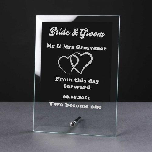 Personalised Engraved Heart Glass Plaque Wedding Bride and Groom Gift - ukgiftstoreonline