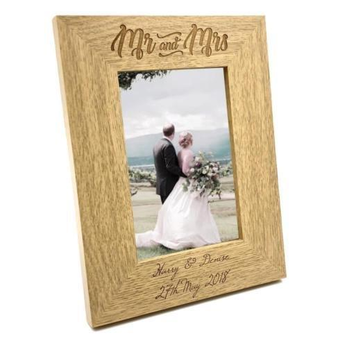 Personalised Engraved Mr and Mrs Wooden Photo Frame Wedding Gift - ukgiftstoreonline