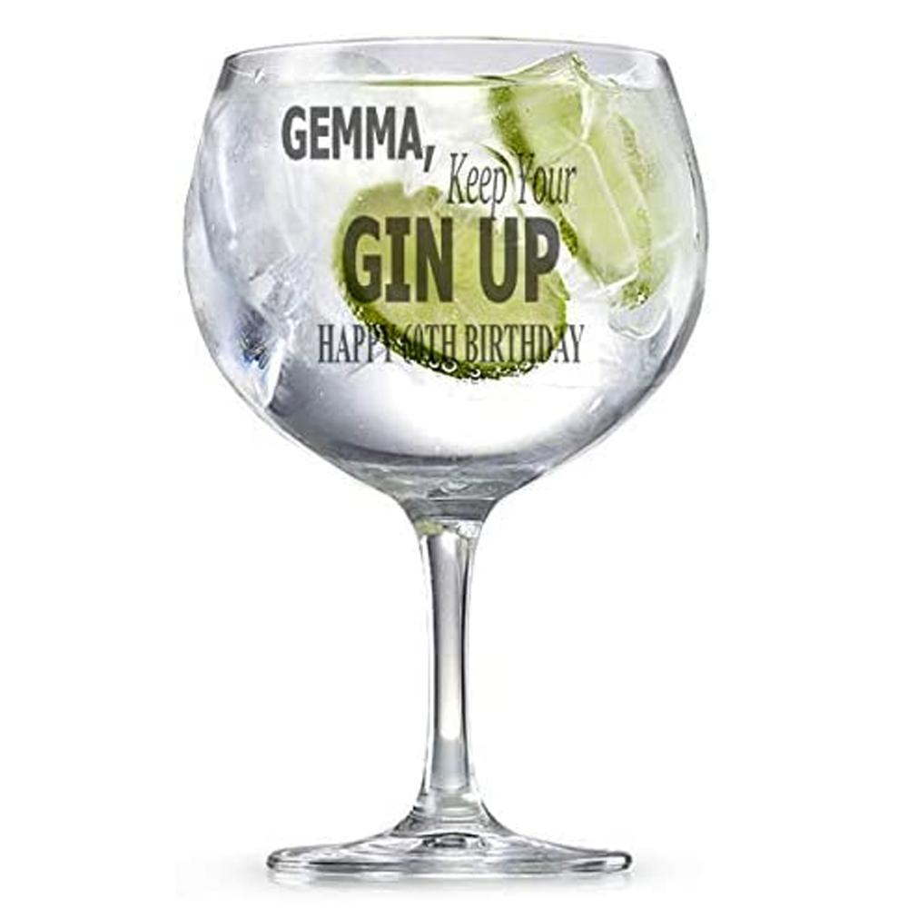 Personalised Engraved Name Keep Your Gin Up Glass Gift - ukgiftstoreonline