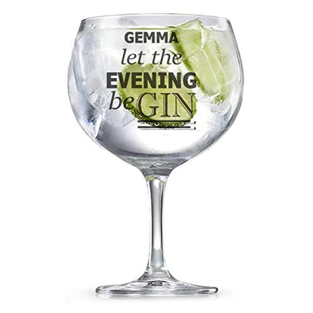 Personalised Engraved Name Let The Evening Be Gin Glass Gift - ukgiftstoreonline