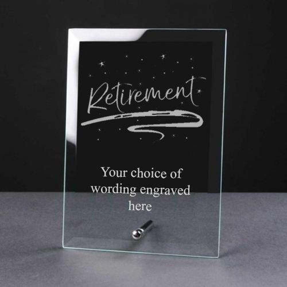Personalised Engraved Retirement Glass Plaque Elegant Gift - ukgiftstoreonline