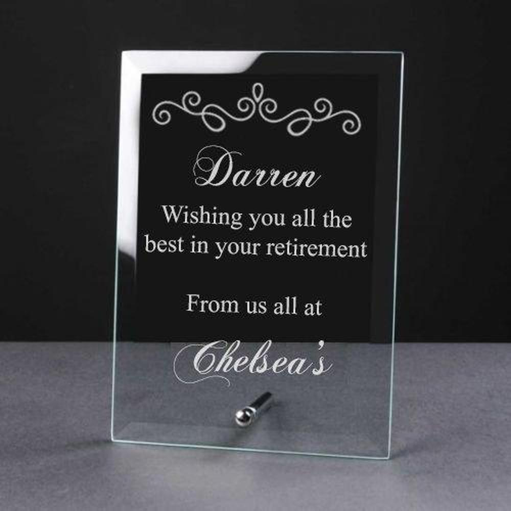 Personalised Engraved Retirement Glass Plaque Sentiment Gift - ukgiftstoreonline